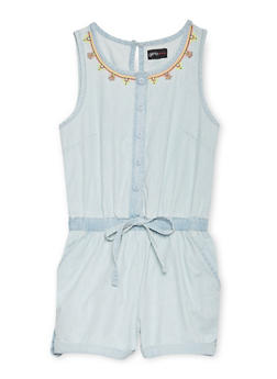 Girls 7-16 Sleeveless Embroidered Denim Romper - 1619051060103