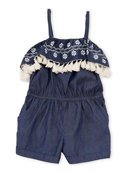Girls 7-16 Printed Denim Romper with Fringe Detail - 1619051060106