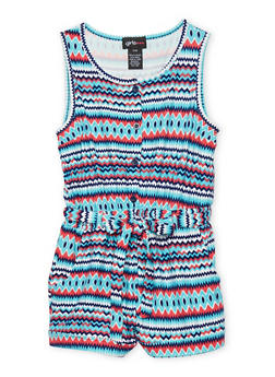 Girls 7-16 Printed Button Front Romper - TURQUOISE - 1619051060107