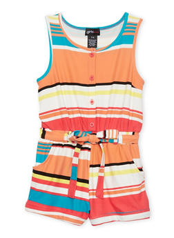Girls 7-16 Printed Button Front Romper - CORAL - 1619051060107