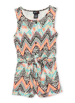 Girls 7-16 Printed Button Front Romper - MULTI COLOR - 1619051060107