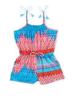 Girls 7-16 Printed Romper with Tassel Straps - PINK - 1619051060108