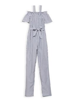 Girls 7-16 Striped Cold Shoulder Jumpsuit - 1619051060128
