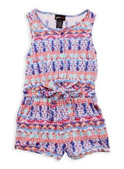 Girls 7-16 Soft Knit Printed Romper - 1619051060138