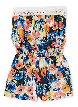 Girls 7-16 Strapless Floral Romper with Crochet Trim - 1619051066163