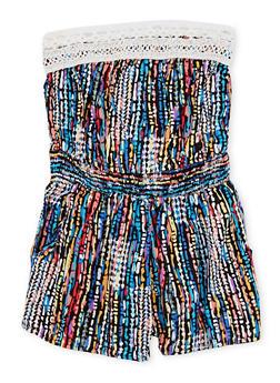 Girls 7-16 Strapless Printed Romper with Crochet Trim - 1619051066164