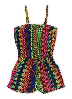 Girls 7-16 Sleeveless Multi Color Printed Romper - 1619051066167