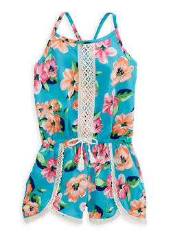 Girls 7-16 Floral Crochet Trim Romper - 1619054730010