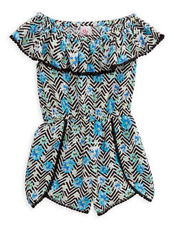 Girls 7-16 Printed Off the Shoulder Romper - 1619054730012
