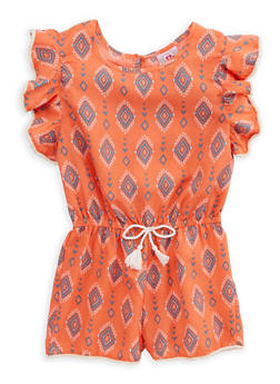 Girls 7-16 Printed Crochet Trim Romper - 1619054730013