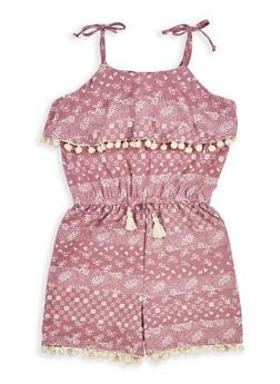 Girls 7-16 Printed Soft Knit Off the Shoulder Romper - 1619060580016