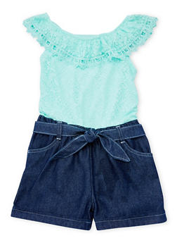 Girls 7-16 Limited Too Mint Lace and Denim Romper with Sash Belt - 1619060990003