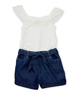 Girls 7-16 Limited Too Ivory Lace and Denim Romper with Sash Belt - 1619060990004