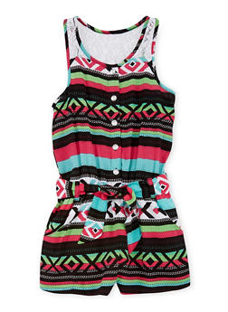 Girls 7-16 Printed Romper with Lace Yoke - 1619060990008
