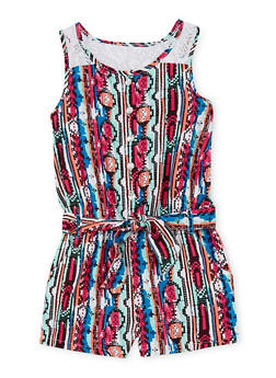 Girls 7-16 Printed Romper with Lace Yoke - MULTI COLOR - 1619060990010