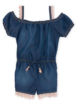 Girls 5-16 Limited Too Cold Shoulder Denim Romper with Crochet Trim - 1619060990016