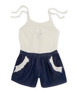 Girls 7-16 Limited Too Lace and Denim Romper with Fringe Trim - 1619060990019