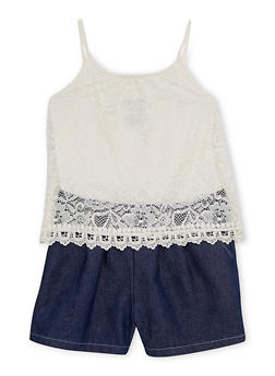 Girls 7-16 Limited Too Sleeveless Lace and Denim Romper - 1619060990020