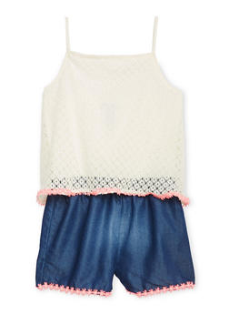 Girls 7-16 Limited Too Crochet and Denim Romper - 1619060990023