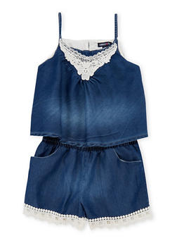 Girls 7-16 Limited Too Sleeveless Denim Romper with Crochet Trim - 1619060990024