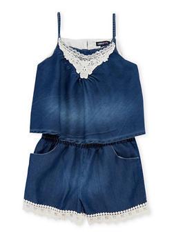 Girls 7-16 Limited Too Sleeveless Denim Romper with Crochet Trim - 1619060990024