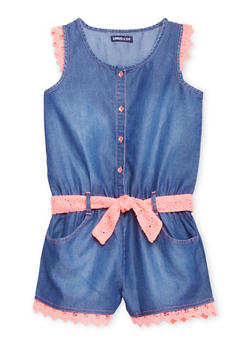 Girls 7-16 Limited Too Denim Romper with Crochet Trim - 1619060990026