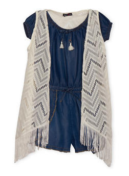 Girls 7-16 Limited Too Denim Romper with Knit Vest - 1619060990028