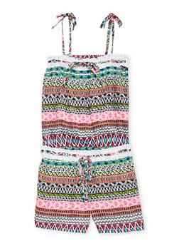 Girls 7-16 Limited Too Abstract Printed Romper with Crochet Trim - 1619060990030