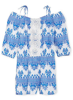 Girls 7-16 Limited Too Printed Cold Shoulder Romper with Crochet Trim - 1619060990033