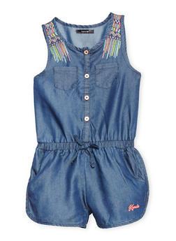 Girls 6-12 Kensie Denim Romper with Decorative Stitching - 1619060990035