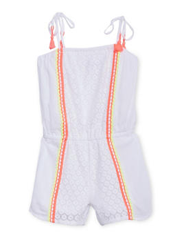 Girls 7-16 Kensie Eyelet Romper with Embroidered Trim - 1619060990037