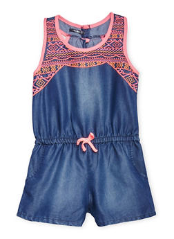 Girls 7-16 Kensie Chambray Romper with Multicolor Stitched Yoke - 1619060990039