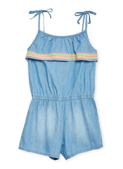 Girls 7-16 Kensie Chambray Romper with Embroidered Overlay - 1619060990040
