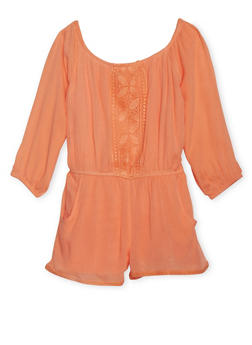 Girls 7-16 Kensie Peasant Romper with Crochet Trim - 1619060990043