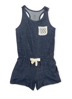 Girls 7-16 Denim Knit Tank Romper with Lace Accent - 1619061950005