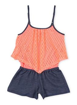 Girls 7-16 Denim Knit Tank Romper with Crochet Overlay - 1619061950006