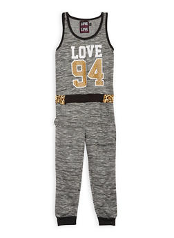 Girls 7-16 Love Graphic Space Dye Jumpsuit - 1619063400011