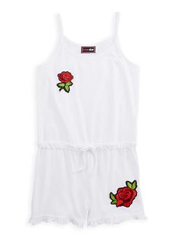 Girls 7-16 Rose Patch Romper - 1619073990001