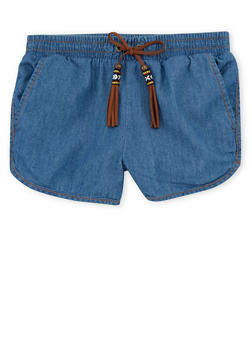 Girls 4-6x Denim Shorts with Faux Suede Tassels - 1620023130003