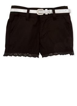 Girls 4-6 Crochet Trim Shorts with Belt - 1620038340013