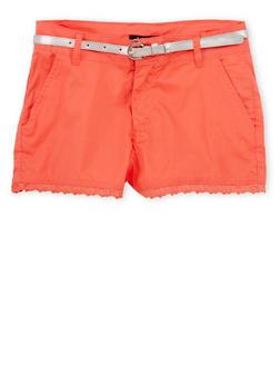 Girls 4-6 Crochet Trim Shorts with Belt - CORAL - 1620038340013