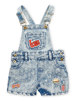 Girls 4-6X Acid Wash Denim Shortalls with Patches - 1620038340028