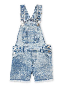 Girls 4-6x Raw Cut Acid Wash Shortalls with Pouch Pocket - 1620038340029