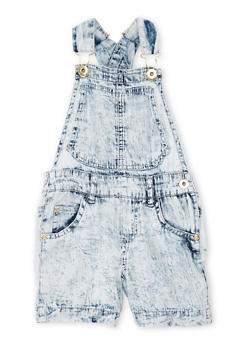 Girls 4-6x Acid Wash Denim Shortalls - 1620038340031