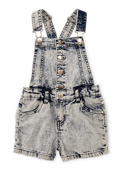 Girls 4-6x Acid Wash Denim Button Front Shortalls - 1620038340032