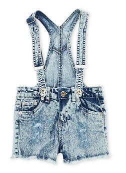 Girls 4-6X Acid Wash Denim Suspender Shortalls - 1620038340033