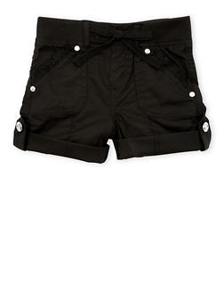 Girls 4-6x Solid Casual Shorts with Rhinestone Buttons - 1620038340035