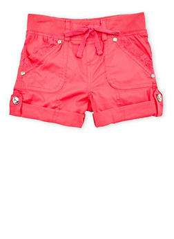 Girls 4-6x Solid Casual Shorts with Rhinestone Buttons - FUCHSIA - 1620038340035