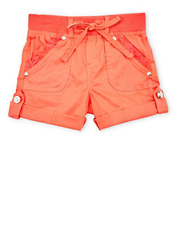 Girls 4-6x Solid Casual Shorts with Rhinestone Buttons - CORAL - 1620038340035