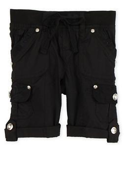 Girls 4-6x Tabbed Cargo Shorts - BLACK - 1620038340036